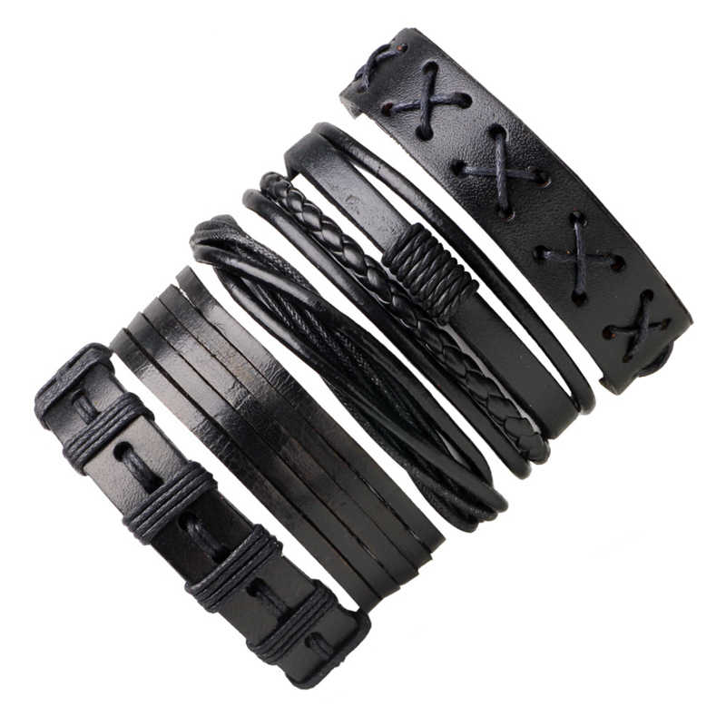 5pcs/set Black Leather Bracelets & Bangles Adjustable Lace-up Wrap Leather Bracelet Sets Handmade Braid Weaving