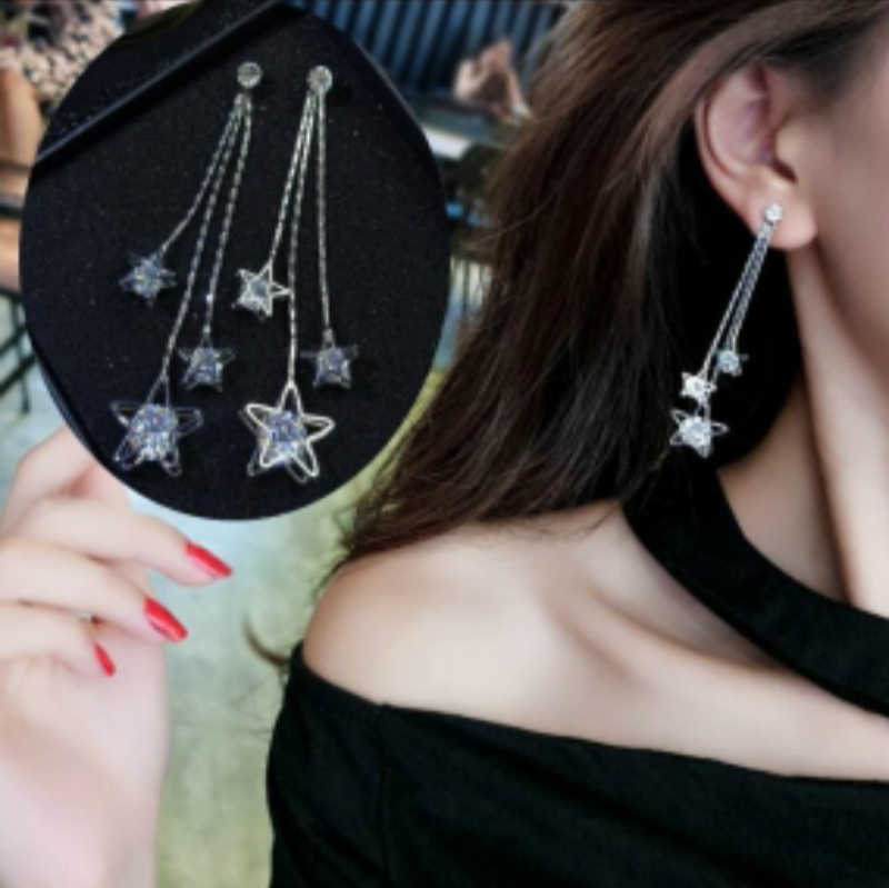 2019 Hot Sale Fashion Jewelry Five-Pointed Star Brincos Oorbellen Long Statement Tassel Zircon Drop Earrings For Women