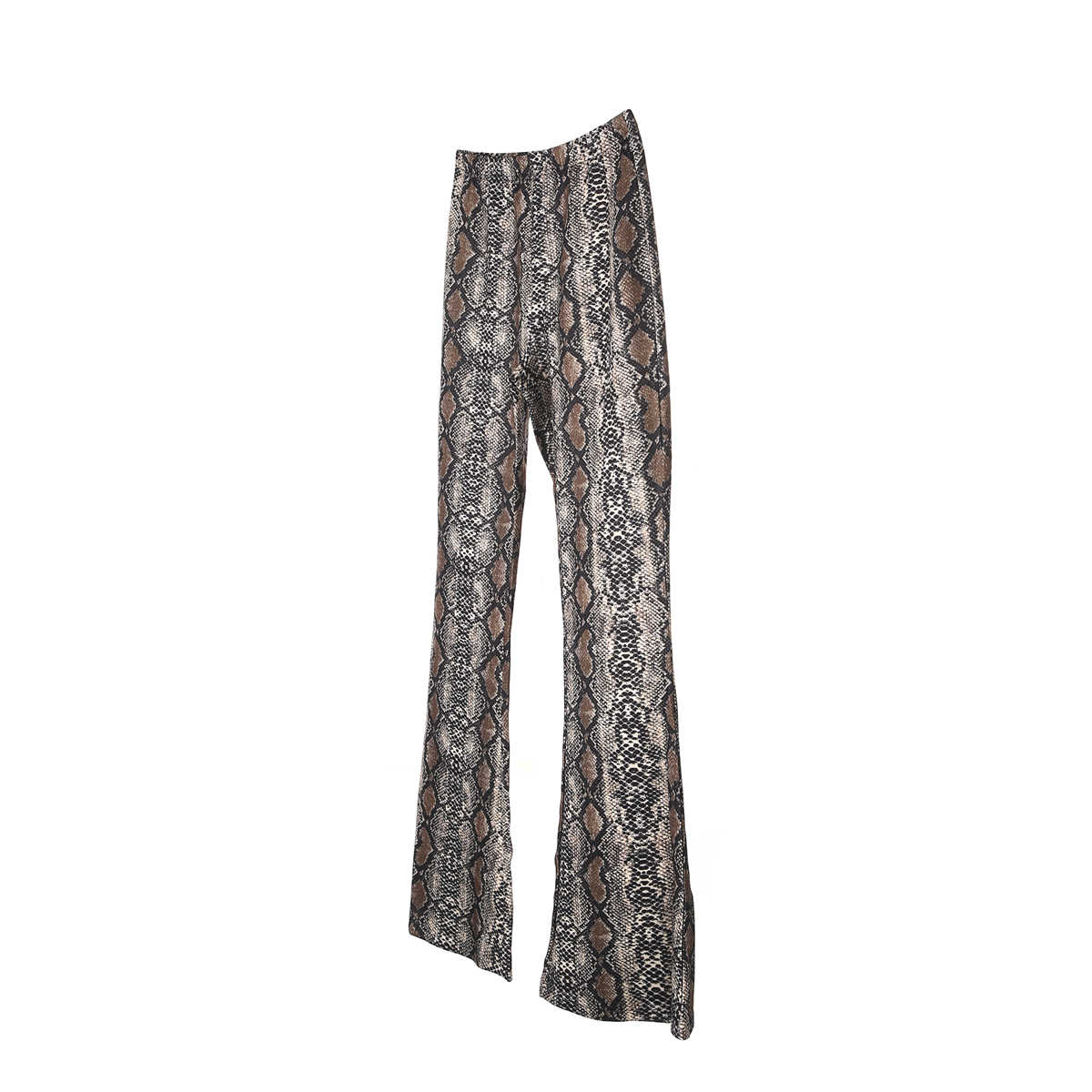 adc890ab6f4b ... Flare Pants Women Fashion Long Snake Skin Python Printed Trousers High  Waist Stretchy Wide Leg Pant