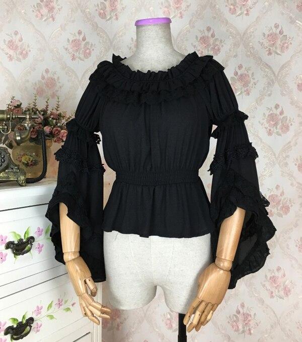 Для женщин Лолита рубашка девушки Boat Neck голые плечи Топ АО Винтаж кружева топы с