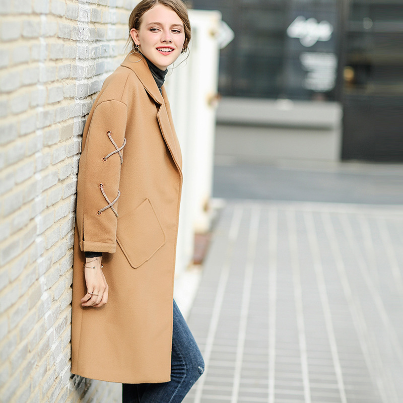 New Fashion 2017 Winter Clothes Rope Single Row Buckle Woolen Loose Coat Long Casual Women Overcoat