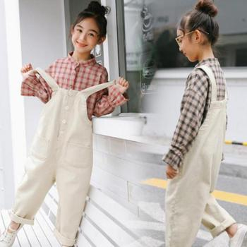 2020 Toddler Girls Plaid Blouses Shirts + Jumpsuits Overalls Spring Costume Girls Clothing Sets Big Girls Clothes 10 12 14 Years