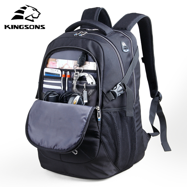 Kingsons 15.6 inch Shockproof Men Laptop Backpacks Male Bag Large Capacity Wear-resistant School Bags Business Travel Backpacks