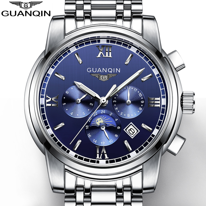 GUANQIN Mens Watch Brand Luxury Automatic Mechanical Watch Fashion Luminous Clock hours Stainless Steel multifunctional Watch ultra luxury 2 3 5 modes german motor watch winder white color wooden black pu leater inside automatic watch winder