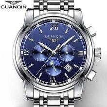 GUANQIN Мужские Часы Люксовый Бренд Автоматические Механические Часы Мода Световой Часы Часы Из Нержавеющей Стали многофункциональные Часы