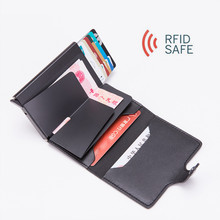 2019 Metal Men Card Holder RFID Aluminium Alloy Credit PU Leather Wallet Antitheft Wallets Automatic Up Case