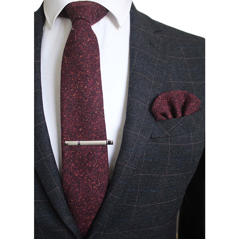 RBOCOTT Wool Tie Set Mens 8cm Necktie Handkerchief Clip Plaid Solid Neck Ties Pocket Square Red Brown Green Gray For Men Wedding