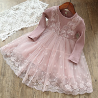 Girls Clothes 2018 New Spring Autumn Children Dress Lace Long Sleeves Princess Dress Cute Fake 2pcs