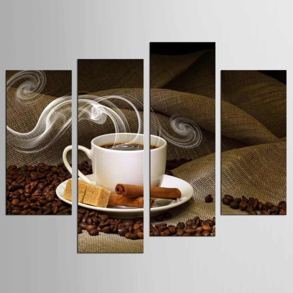 4 Panels Canvas Painting Fragrant Coffee Beans Print Painting On Canvas Wall Art Picture Kitchen Home Decoration
