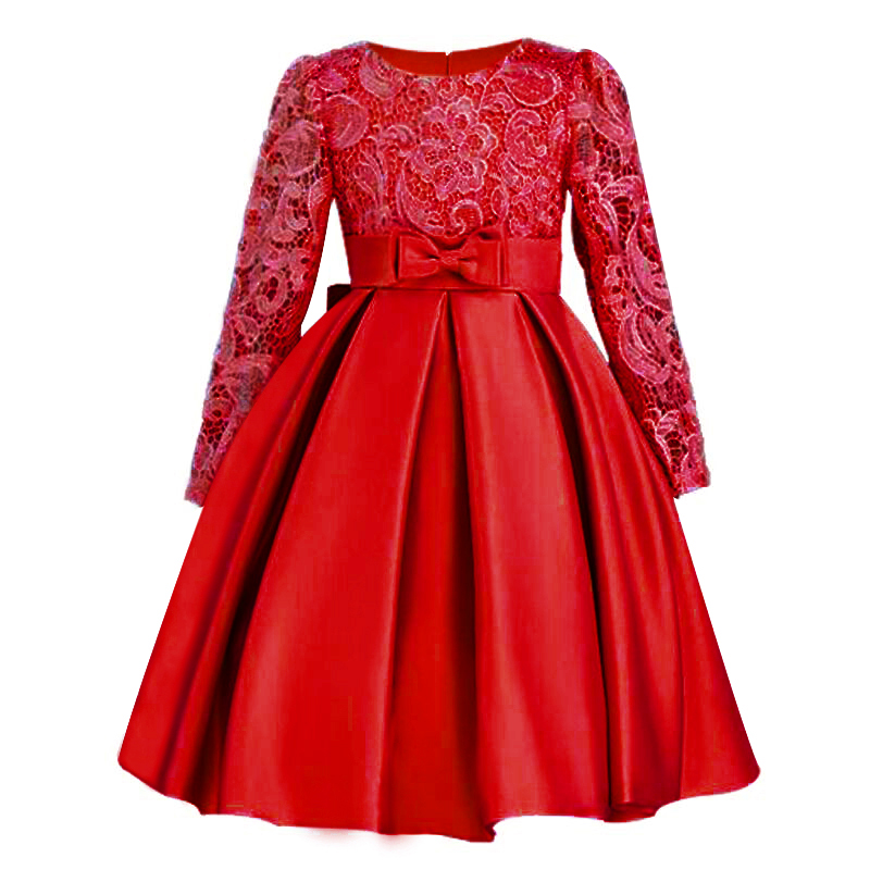 2017 Christmas Girls Dresses Long sleeve Bud silk bowknot Clothes Wedding Party Dress For Girl Children's Princess Dresses 2017 autumn new style 3 10 years girls dresses children bud silk princess dress long sleeved red christmas party dress