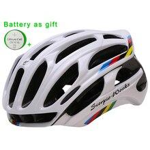 Helm Sepeda Integral Dibentuk Helm Bersepeda Olahraga Luar Ruangan Jalan Gunung MTB Sepeda Helm dengan LED Lampu Peringatan