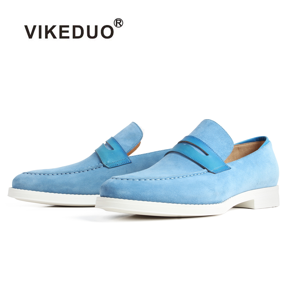 VIKEDUO New Casual Cow Suede Men's Loafers Shoes Blue Slip-On Flat Fashion Footwear Male Brand Patina Bespoke Customized Zapatos