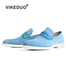 VIKEDUO New Casual Cow Suede Mens Loafers Shoes Blue Slip-On Flat Fashion Footwear Male Brand Patina Bespoke Customized Zapatos