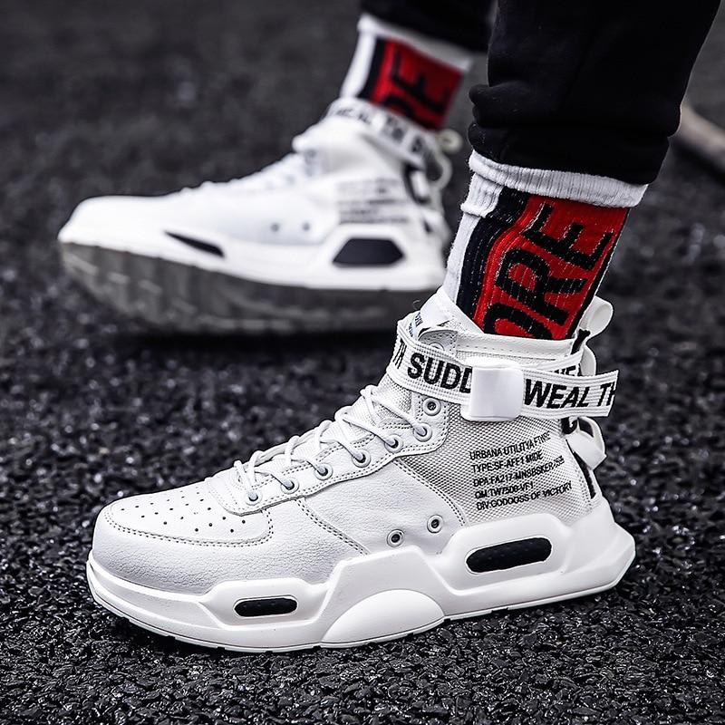 Nouveau mode hommes baskets haut Couple chaussures pour hommes noir/blanc extérieur marche chaussures de sport femmes confortables baskets
