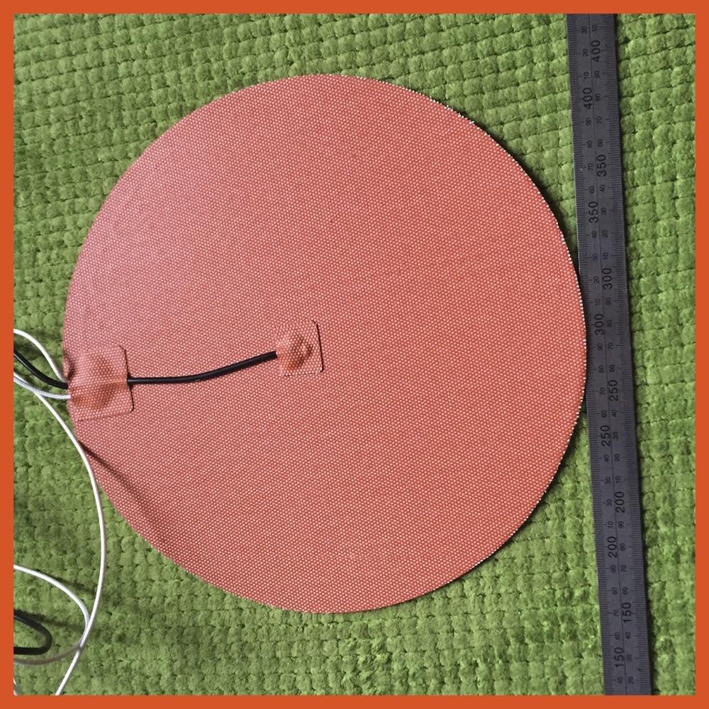 Gomma di silicone 3d stampante riscaldatore 120 v 400 w diametro 220MM 3m adhesive 100 k termistore piombo filo heater plate 400 w 240v 245 245mm 3m adhesive piombo filo di silicone flessibile gomma 3d stampante riscaldatore silicone heater element heat