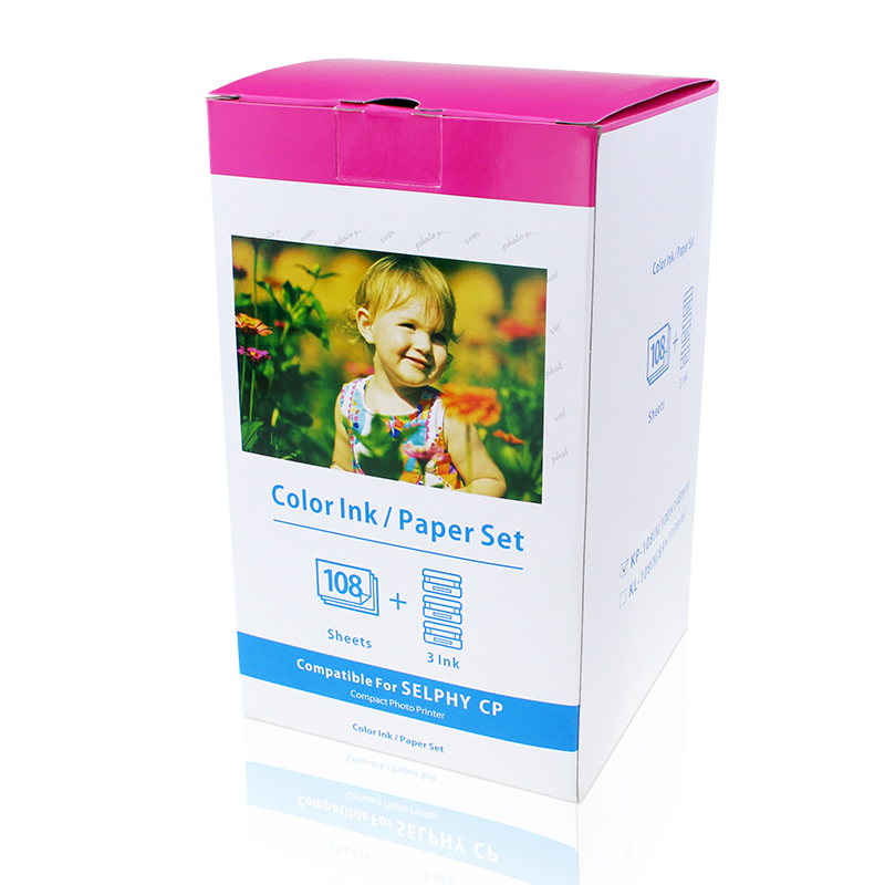 2 Pack Photo Paper Compatible Canon KP-108IN 3 Color Ink Cassette 108 Sheets 4 x 6 Paper Glossy For Canon SELPHY CP1300 CP1200