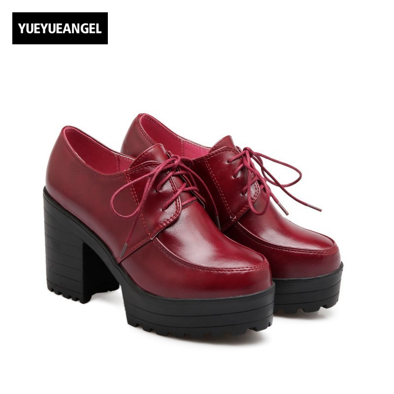 Classic European Fashion Casual Lace Up Platform Womens Autumn Shoes High Thick Heels Punk Pu Leather Pumps Round Toe Footwear