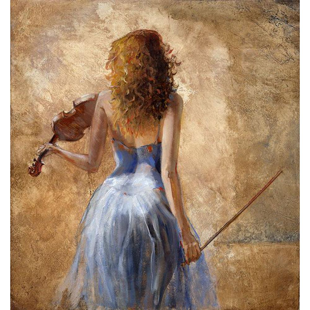 Hand painted oil women art painting Girl with a violin impressionist Ladies canvas artwork for room decorHand painted oil women art painting Girl with a violin impressionist Ladies canvas artwork for room decor