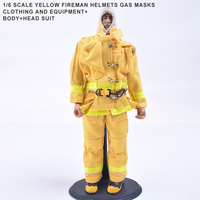 1/6 Scale Firefighter Yellow Fireman Helmets Gas Masks Clothing And Equipment+Body+Doll Head Suit For 12 Figure