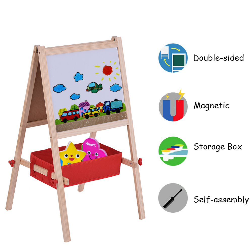 Learning Education Dual-sided Magnetic Writing Drawing Board with Magnetic Letters Marker Pen Chalks Kids Wooden Art Chalkboard