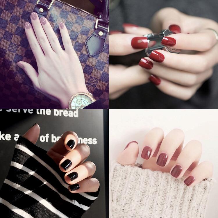 Fashion Solid Candy Color False Nails 1 Sheets 24 Pcs Short Full Cover Square Summer Fake Nails for Finger 17 Colors Choose
