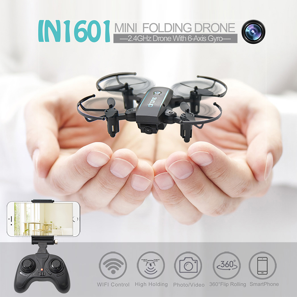New Arrival IN1601 2.4G 720P 0.3MP Wifi FPV Foldable Mini Drone With Camera Altitude Hold RC Drone Quadcopter Selfie Drone Gifts (15)