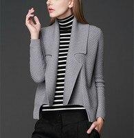 High Grade Pure Wool Knit Women S Fashion Cardigan Sweater Coat Big Turn Down Collar Irregular