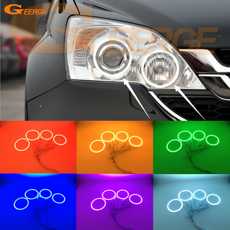 For HONDA CR-V CRV 2010 2011 PROJECTOR HEADLIGHTS Excellent Multi-Color Ultra bright RGB LED Angel Eyes kit Halo Rings for honda cr v crv 2007 2008 2009 2010 2011 xenon headlight excellent multi color ultra bright rgb led angel eyes kit halo rings