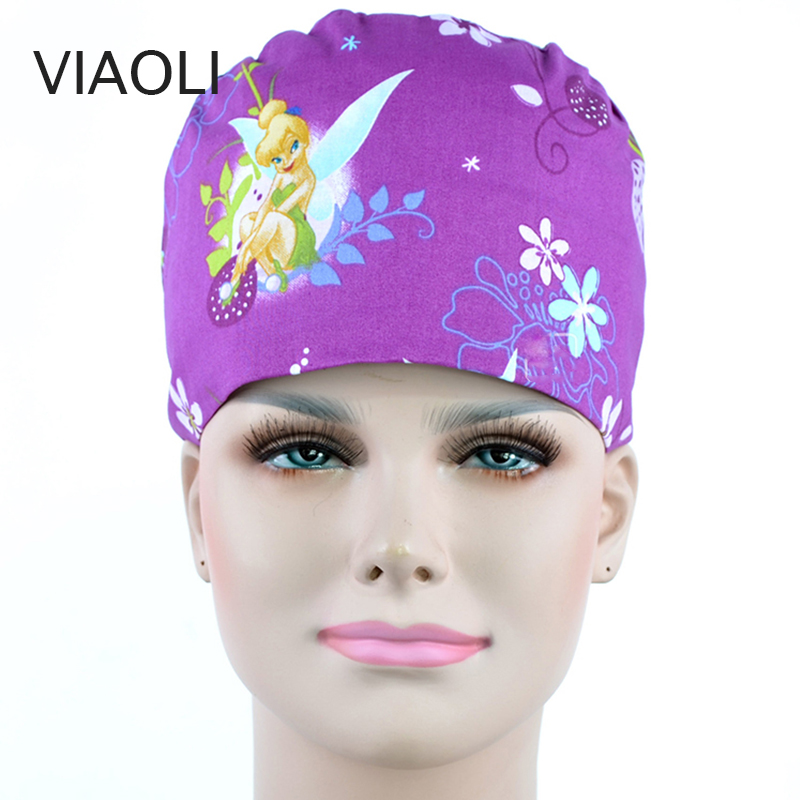 Purple Print Surgical Caps/hats Pet Doctor Hat Dentist Hat Print Girl Nurse Accessories Wholesale Prices