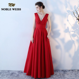 Image 2 - NOBLE WEISS Elegant Satin Red Prom Dresses Long Floor Length Special Occasion Gowns With Sexy V neck Girls vestido de festa
