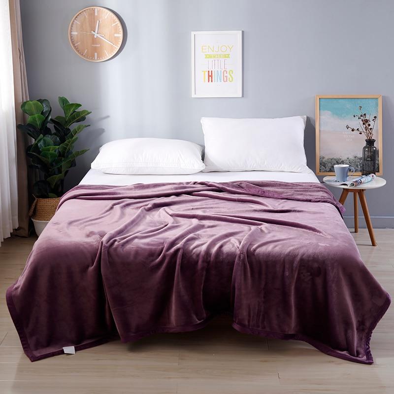 Noble violet flanelle corail couverture en molleton Super doux Plaid couverture canapé couverture hiver chaud feuilles facile lavage fausse fourrure couvertures