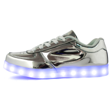 2015Hot 11 colors Fashion  Casual Unisex Shining Shoes With LED Laser Leather Surface Gold Silver USB Light Up Shoes For Adults