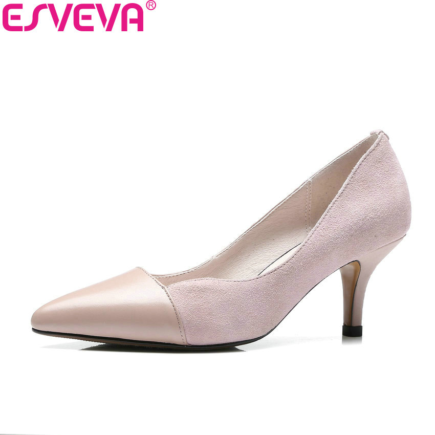ESVEVA 2018 Women Pumps Spring and Autumn Cow Leather PU Slip on Thin High Heels Pointed Toe Party Ladies Pumps Shoes Size 34-40 spring autumn women loafer pointed toe pearl comfortable women flats shoes slip on fashion pu leather women s flat with shoes