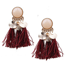 Tassel Earrings for Women Wedding Party Acrylic Beads Statement Drop Earrings Long Vintage Fringing Jewelry