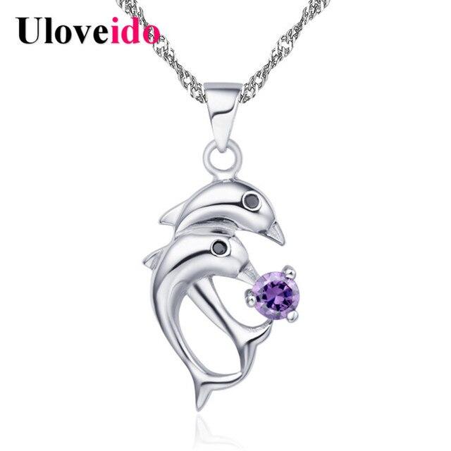 Valentine's Day Gift Rhinestone Collar Silver Color Dolphin Necklaces Chain 2017 Fashion Accessories Women's Suspension N301
