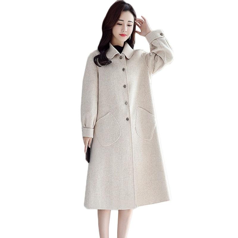 Novas Mulheres casaco de Lã Longo Inverno Coreano Temperamento Single breasted casaco de Lã das Mulheres Moda Malha Rosa Maré Sobretudo 1068