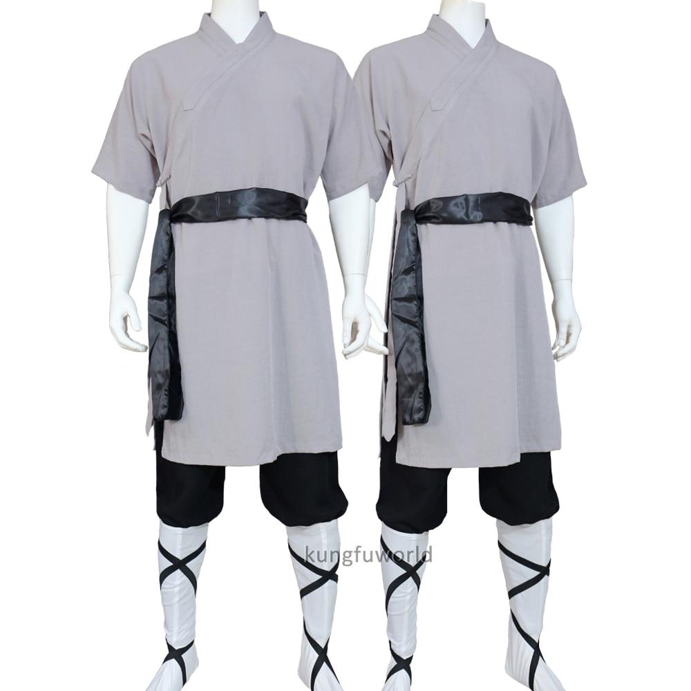 Summer Shaolin Monk Uniform Martial Arts Tai Chi Suit Wushu Wing Chun Clothing Meditation Clothes 25 Colors