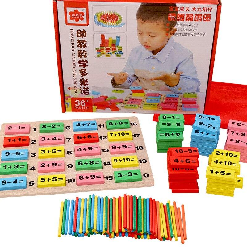 Bébé maths jouet blocs en bois jouet éducatif en bois maths jouets pour enfants Domino 3-4-5-6-7-8 ans jeu cadeaux drôles enfants - 2