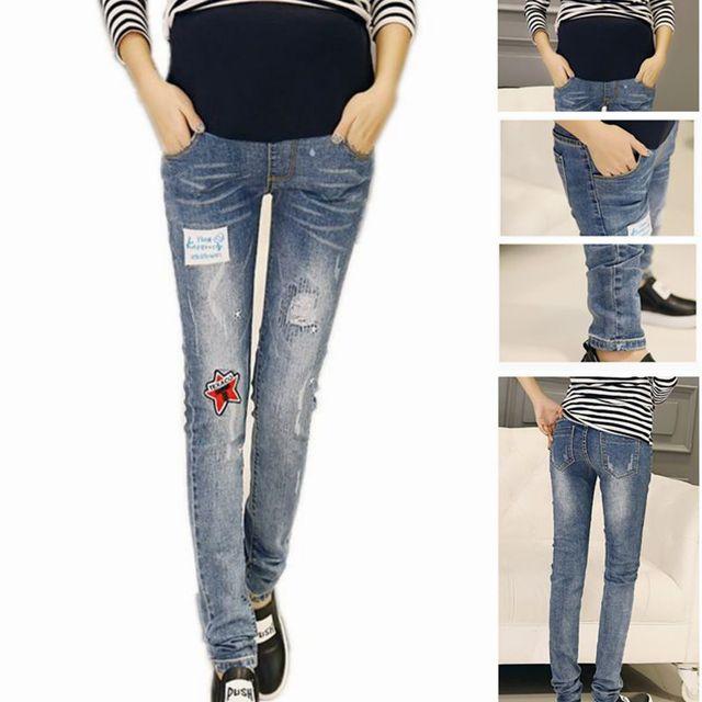 Cintura elástica Maternidade Jeans Calças de maternidade para A Gravidez Roupas Bordado de Forma Magro Lápis Pant Gravidez Roupas Plus Size calças de Brim
