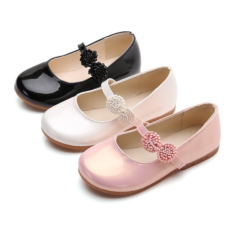 2019 outono novas crianças sapatos de couro da menina flores princesa sapatos primavera outono elegante estudante dança casamento festa sapatos