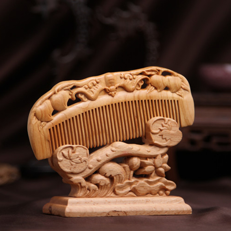 Pc wooden comb natural peach wood carving antistatic