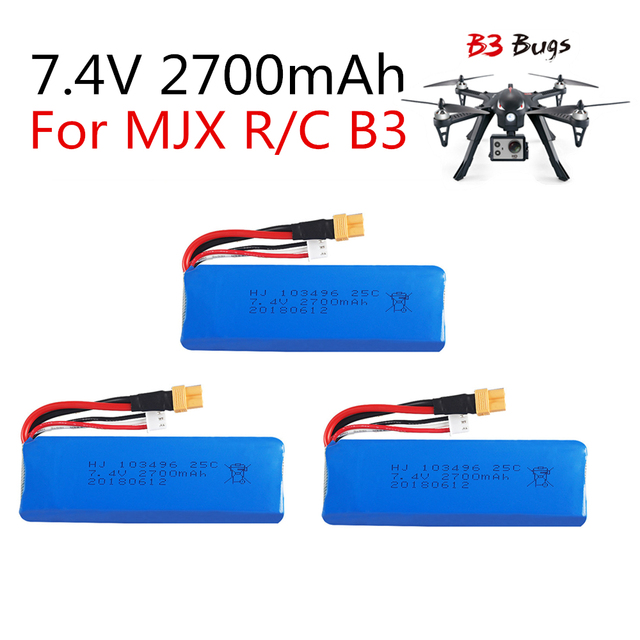 3PC 7.4V 2700mAh upgrade Battery for mjx B3 Bugs 3 Force1 F100...