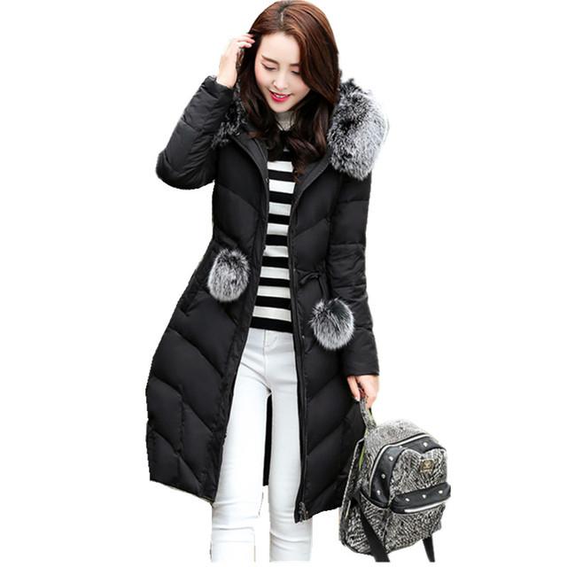Mulheres Jaqueta de inverno Com Capuz De Pele Casaco Longo Fino de Algodão Acolchoado Para Baixo Casaco Jaqueta Parka Mulheres 2016 Big Plus Size 3XL