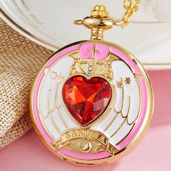 SAKURA CARDCAPTOR reloj de bolsillo para mujer bonito Rosa sakura mágico Array Dial chica reloj señoras reloj colgante collar cadena mejor regalo