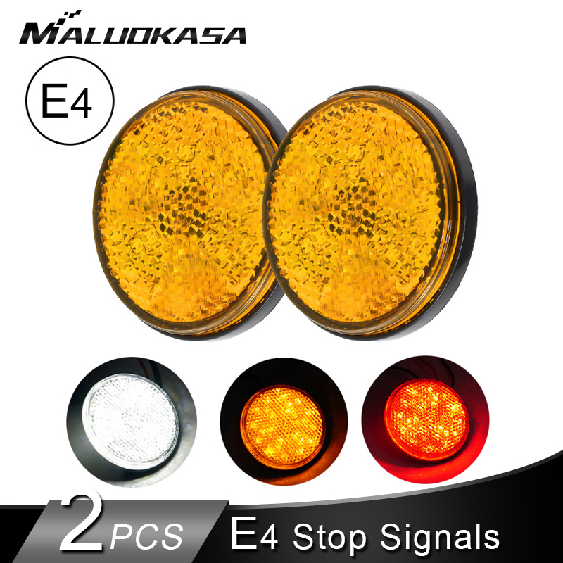 2PCS Motorcycle Turn Signals 24SMD Tail Braking Lights E4 Stop Signals ATV LED Reflectors/Truck Side Warning Light Bulbs Blinker
