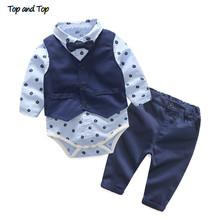 Top i Top Baby Boy Gentleman 3 sztuka garnitur kamizelka + koszula Romper z krawat + spodnie formalne ubrania imprezowe zestawy ubranka chłopięce dla niemowląt tanie tanio Dziecko t995 Skręcić w dół kołnierz REGULAR top and top Swetry Pełna Boys baby Płaszcz Czesankowej Drukuj Pasuje prawda na wymiar weź swój normalny rozmiar