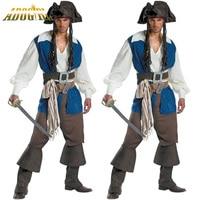 Homem Trajes Piratas Do Caribe Pirata Jack Cosplay Disfraces de Halloween Pirata Jogo Masculino Roupas Da Moda Plus Size M-XL