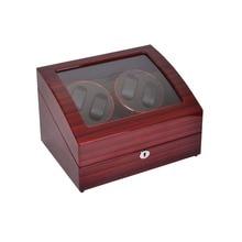Enrollador de reloj, LT Rotación Automática 4 6 Enrollador de Reloj De Madera Caja De Almacenamiento Caja de Presentación (está fuera rose rojo y en el interior es negro)