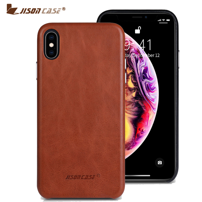 Jisoncase Genuine Leather Phone Case for iPhone XS MAX Luxury Business Style Thin Back Cover for iPhone XS MAX for 6.5
