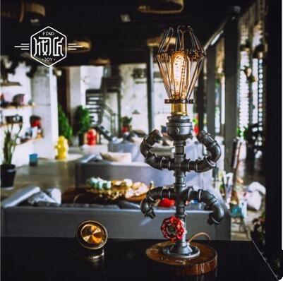 Edison Water Pipe Vintage Wood Table Lamp Light For Bedroom Living Room Loft Industrial Beside Lamps Lampara Luminaira De Mesa edison wood vintage industrial table lamp for bedroom living room water pipe beside lamps luminaria lampara de mesa abajur